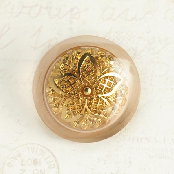 23/20mm Ösenknopf Kunststoff Goldfarben Ornamente Blüte
