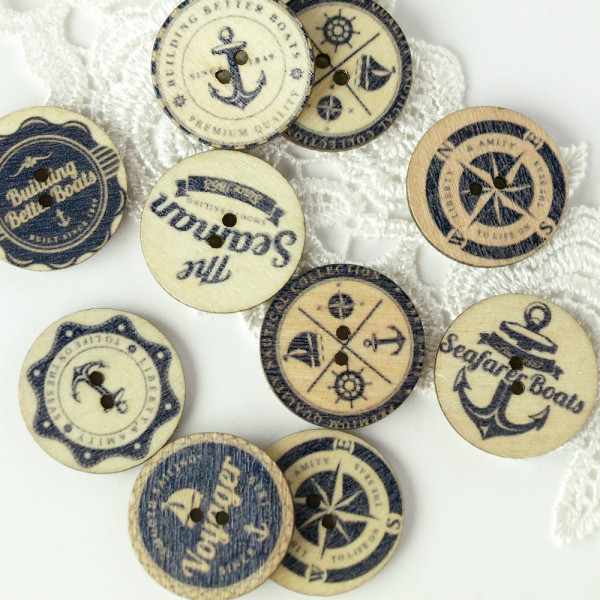 Marine nautischer Knopf mix 10er weiß blau holz kaufen basteln