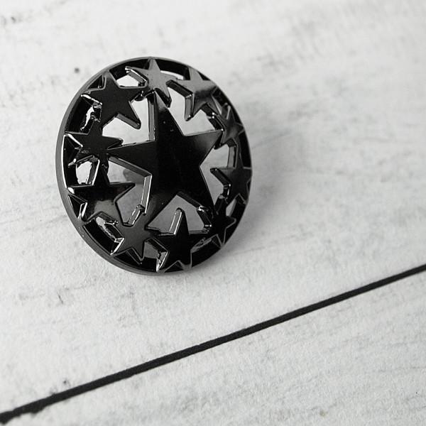 Knopf Metall Sterne 23mm schwarz
