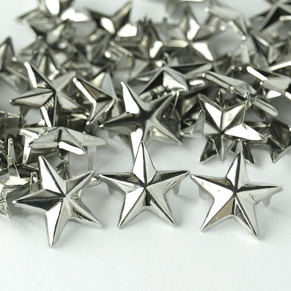 Nieten Stern Silber 15mm 50 100 Textil verzieren