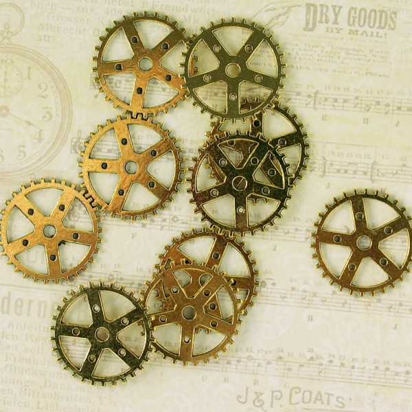 10 Steampunk Zahnräder X Goldfarben