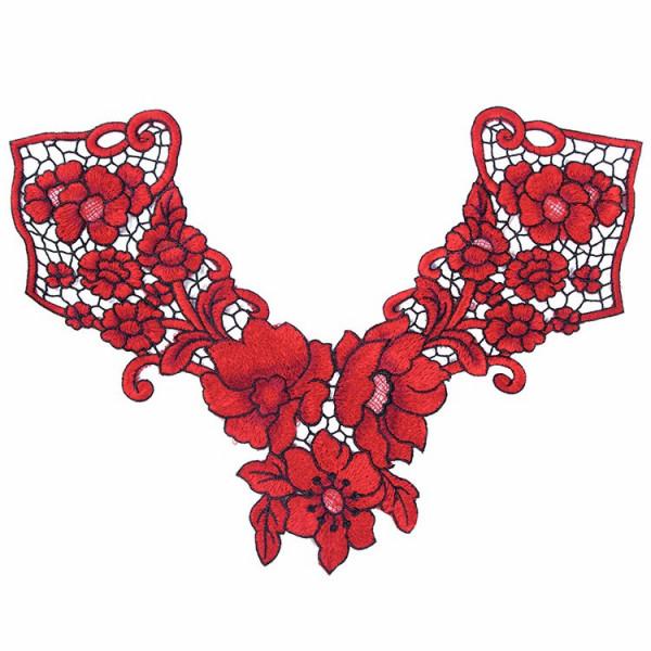 Spitzenkragen Blüten Rot