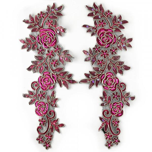 1 Paar Spitzenapplikationen XXL Pink