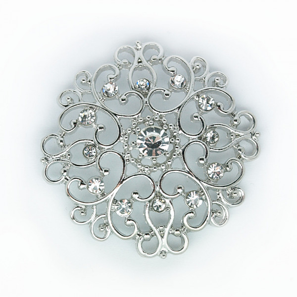 Knopf Ornamente XL Silber 40mm