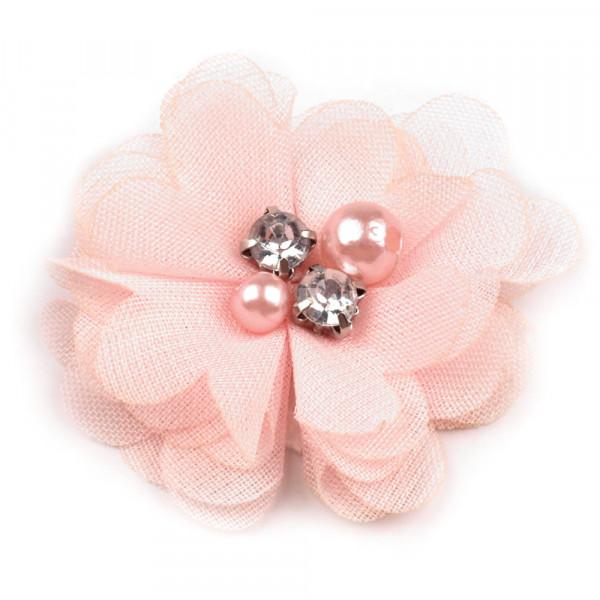 10 Stoffblumen mit Perlen und Glitzersteinchen Rosa