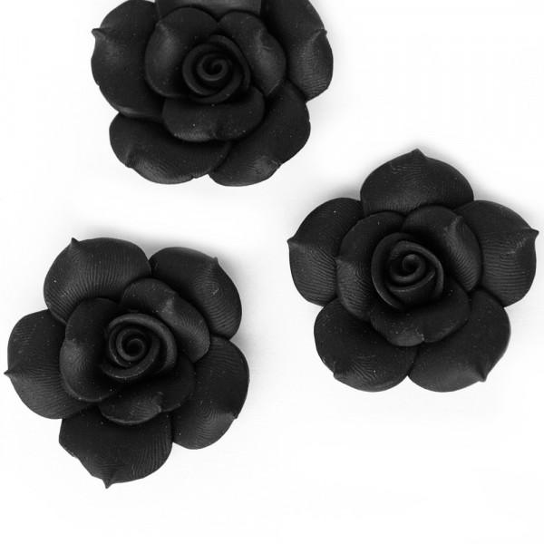 2 Rosen 4cm aus Polymer Clay Schwarz
