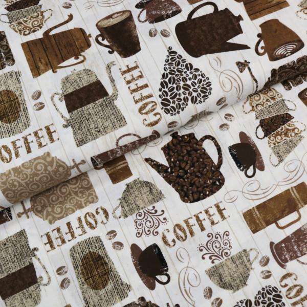 Baumwollstoff Kaffee Holz