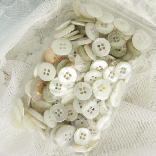 Tüte Knopf Mix Mini Weiß/Creme