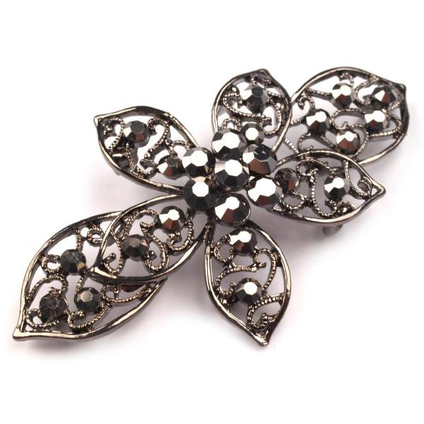 Zierverschluss Blüte mit Glassteinen