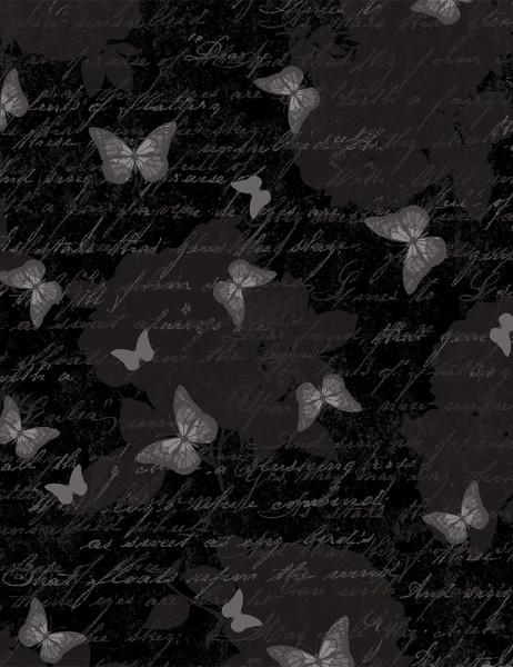 Baumwollstoff Schwarze Schmetterlinge