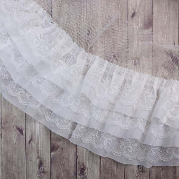 Rüschen Weiß 11cm
