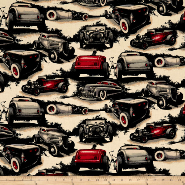 Baumwollstoff Autos hell