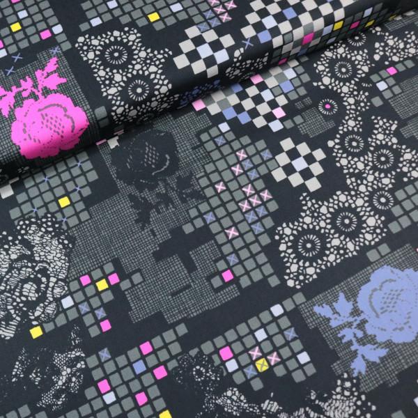 Batist Baumwollstoff Pixel Lace Grau