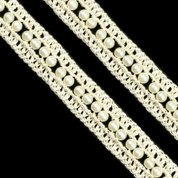Häkelborte mit Perlen Creme 20mm