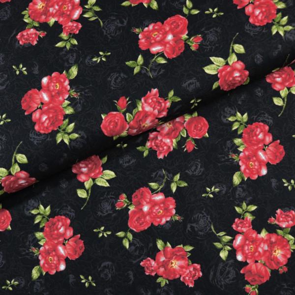 Baumwollstoff Rote Blüten