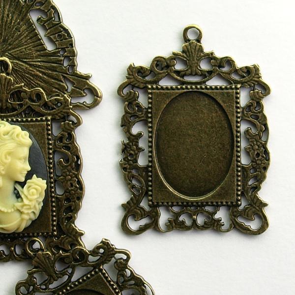 Kamee Gemme Setting Fassung Rohling Barock Vintage Ornamente