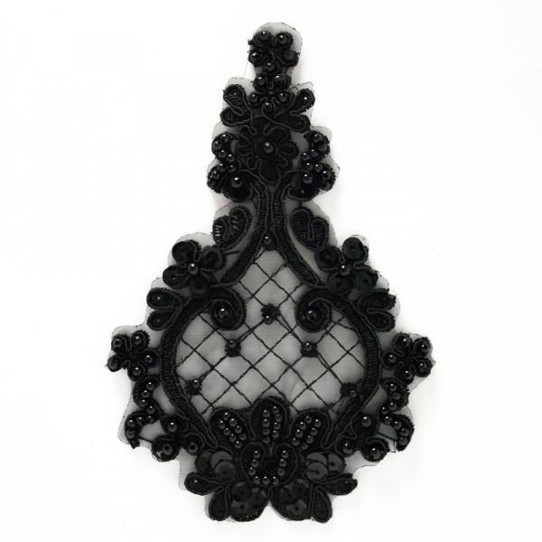 Spitzenapplikation Schwarz Perlen Stickerei