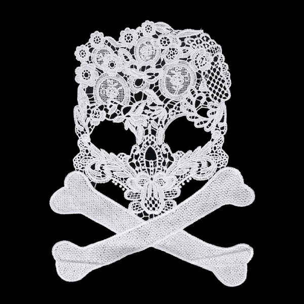 Totenkopf Skull Knochen Spitze Weiß