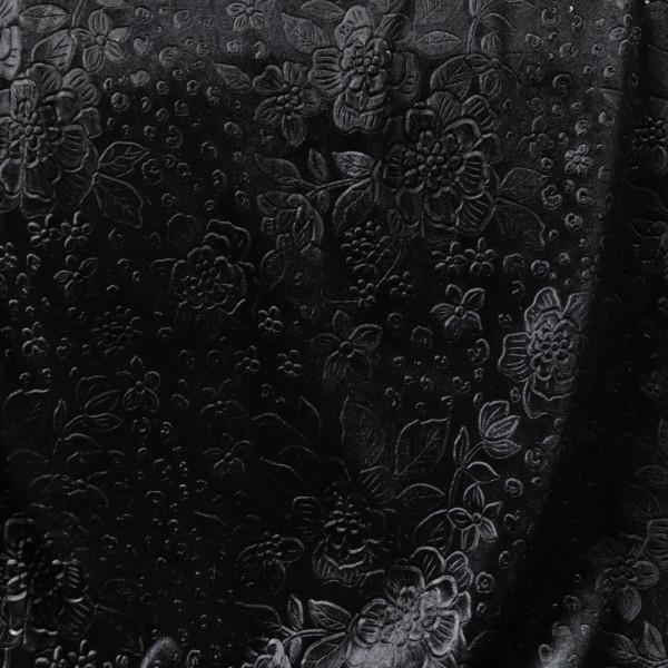 Stretchsamt Blüten Schwarz Velours Velvet