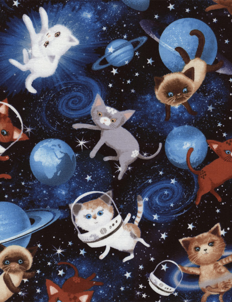 Out of Print: Baumwollstoff Space Cats