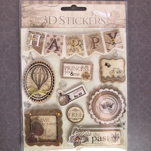 """3D Stickerbogen Aufkleber Steampunk """"Time Machine"""""""