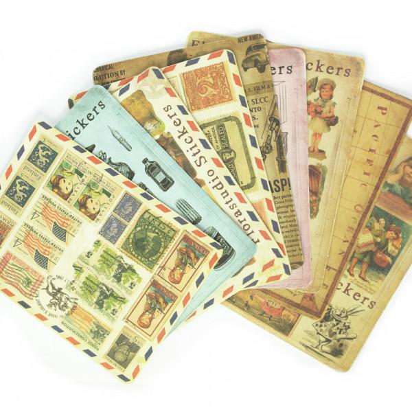 9 Stickerbogen Vintage Motive