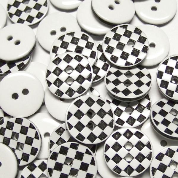 """10 Karo Knöpfe """"Chess"""" 13mm"""