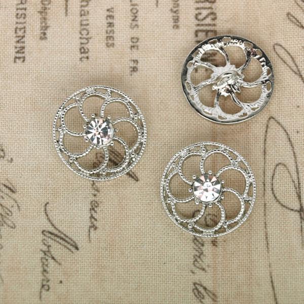 Metallknopf ornament ziseliert silber strass orientalisch