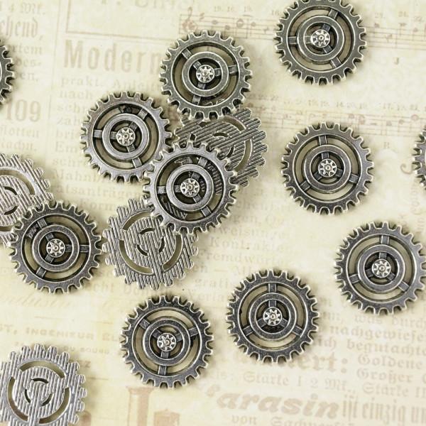 10 Steampunk Zahnräder XIV Silberfarben