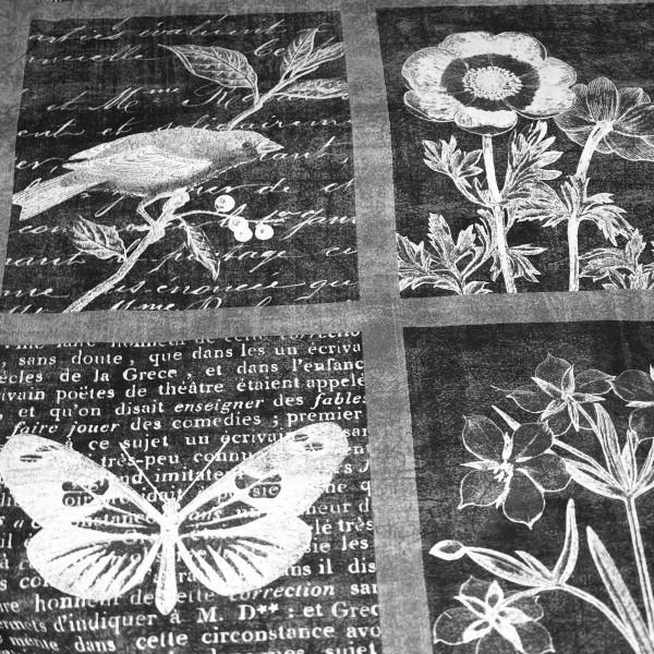 Panel Baumwolle Stoff Patchwork Kissen Vogel Schmetterling Natur