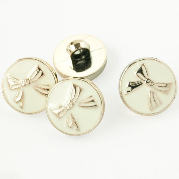 Mini Knopf Schleife Gold Weiß