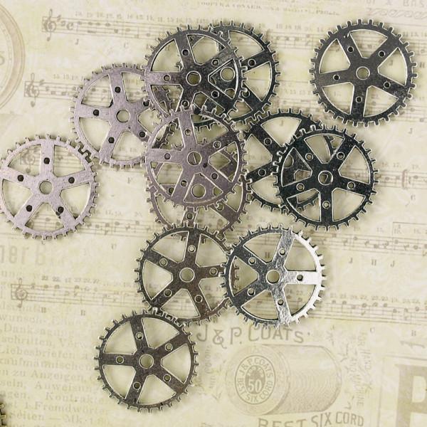 10 Steampunk Zahnräder X Silberfarben