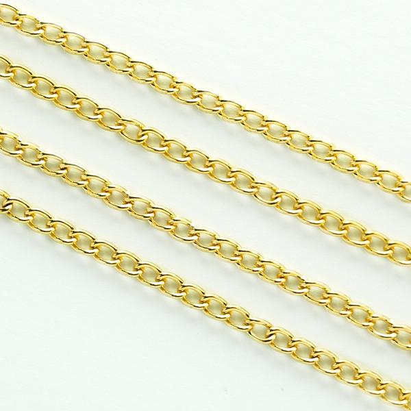 Kette Gold Schmuck 3mm nickelfrei Gliederkette