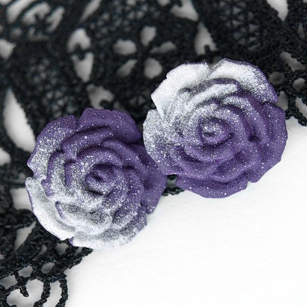 Knopf Rose 18mm Grau Lila Violett Bluse Gothic