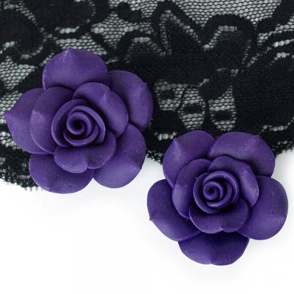 2 Rosen 4cm aus Polymer Clay Violett Lila