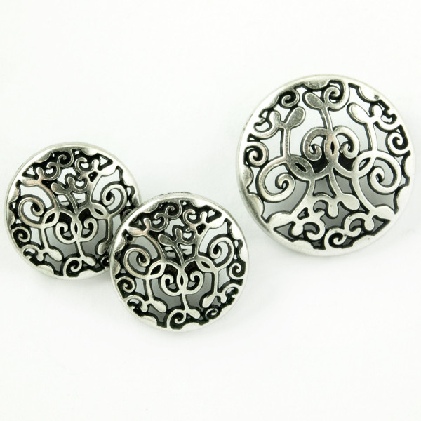 Knopf Metall Ornamente Silber kaufen