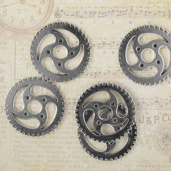 5 Steampunk Zahnräder XXIX 31mm silber