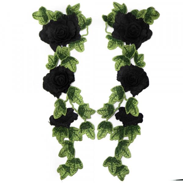 Spitzenapplikation Paar Rosen schwarz XL