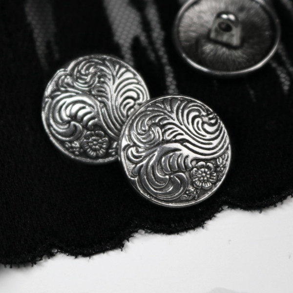 """Knopf """"Feather"""" 18mm Silber"""
