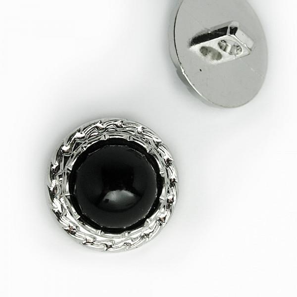 knopf günstig schwarz silber metall rund 22mm kaufen diy material nähen