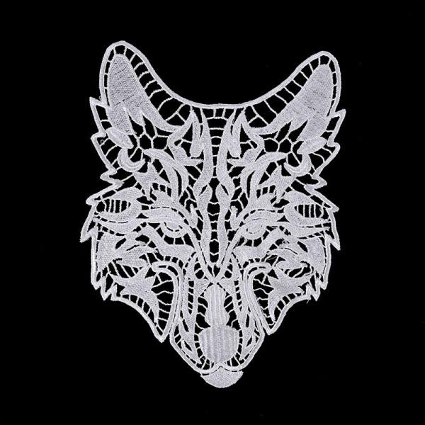 Wolf Grafik Spitze Weiß