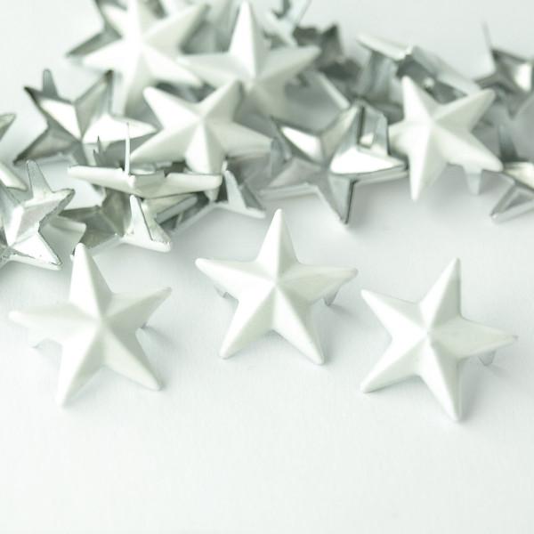 Nieten Stern Weiß 15mm 50 100 Textil verzieren