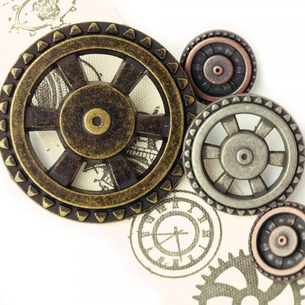 Knopf Knöpfe steampunk zahnrad metall ösenknopf kaufen nähen selbe rmachen altmessing silber kupfer