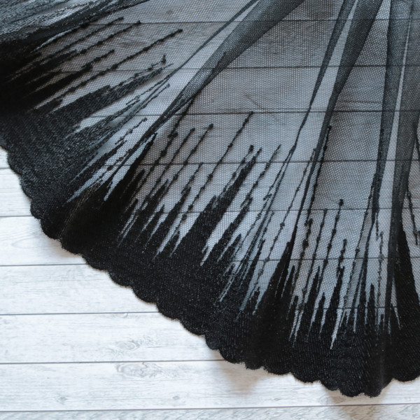 Tüllspitze metallic 18cm schwarz