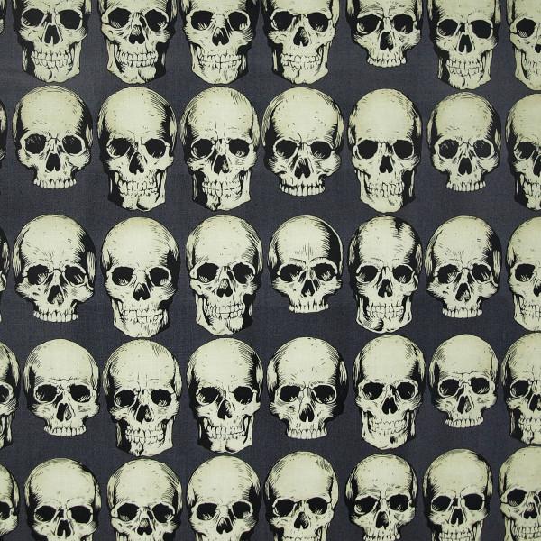Baumwollstoff Skull Rows Grau