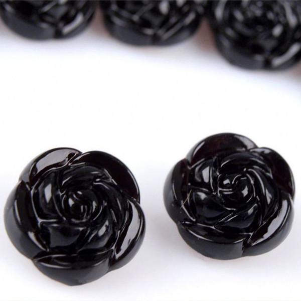 Knopf schwarze Rose 15/20mm