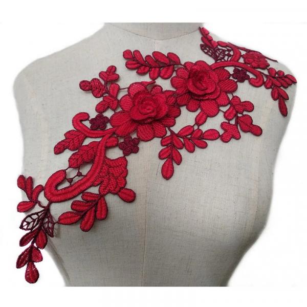 Applikation Stickerei Blumen Rot