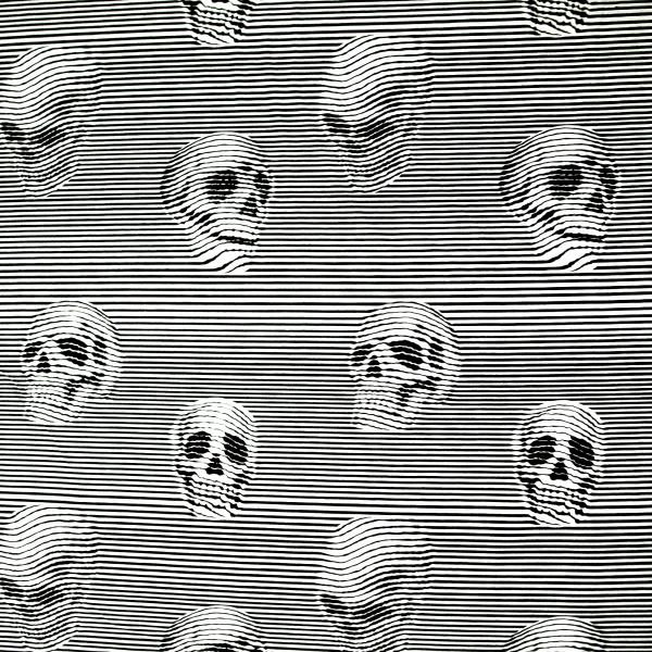 Baumwollstoff Skull Line Art