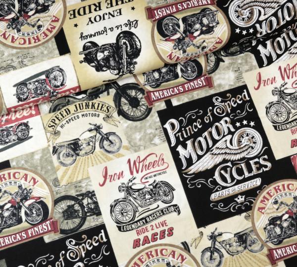 "Baumwollstoff Motorrad ""Iron Wheels"""