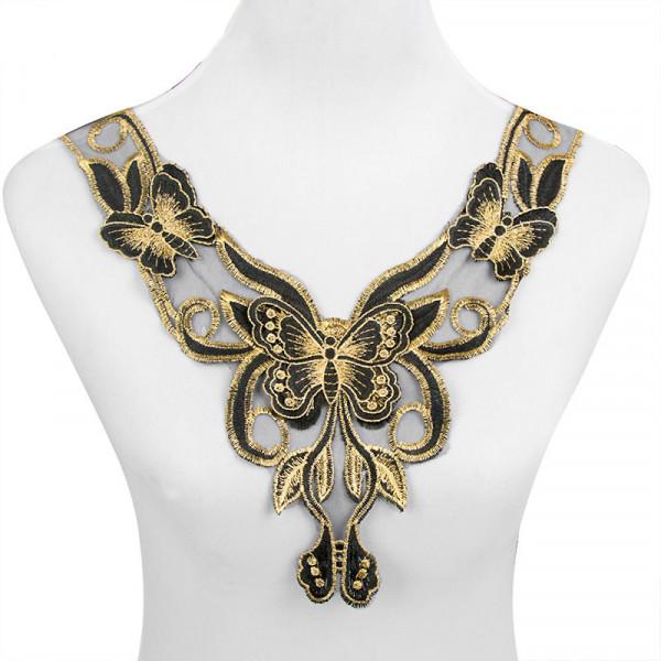 3D Kragen Schmetterlinge Goldfarben Schwarz